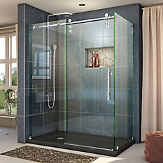 Enigma-Z 56-3/8 to 60-3/8-inch W x 34-1/2-inch D x 76-inch H Frameless Sliding Shower Enclosure in Polished Stainless Steel