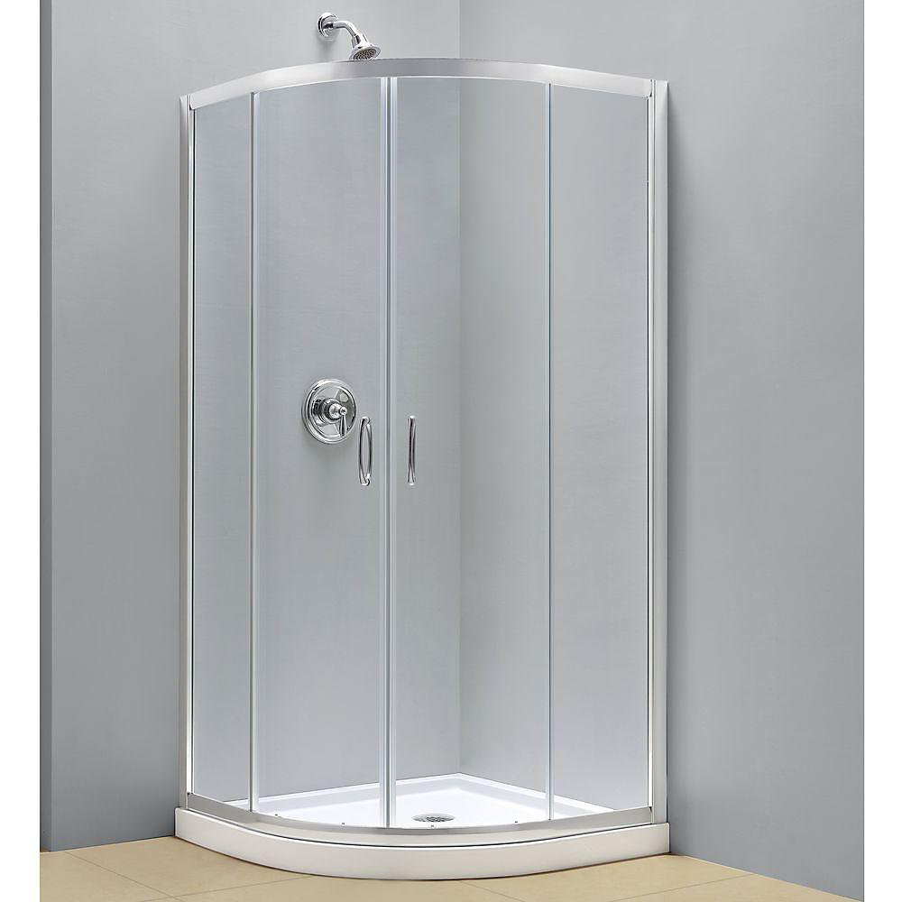 Prime 36-3/8  Inch  X 36-3/8  Inch  X 72  Inch  Framed Sliding Shower Enclosure In Chrome