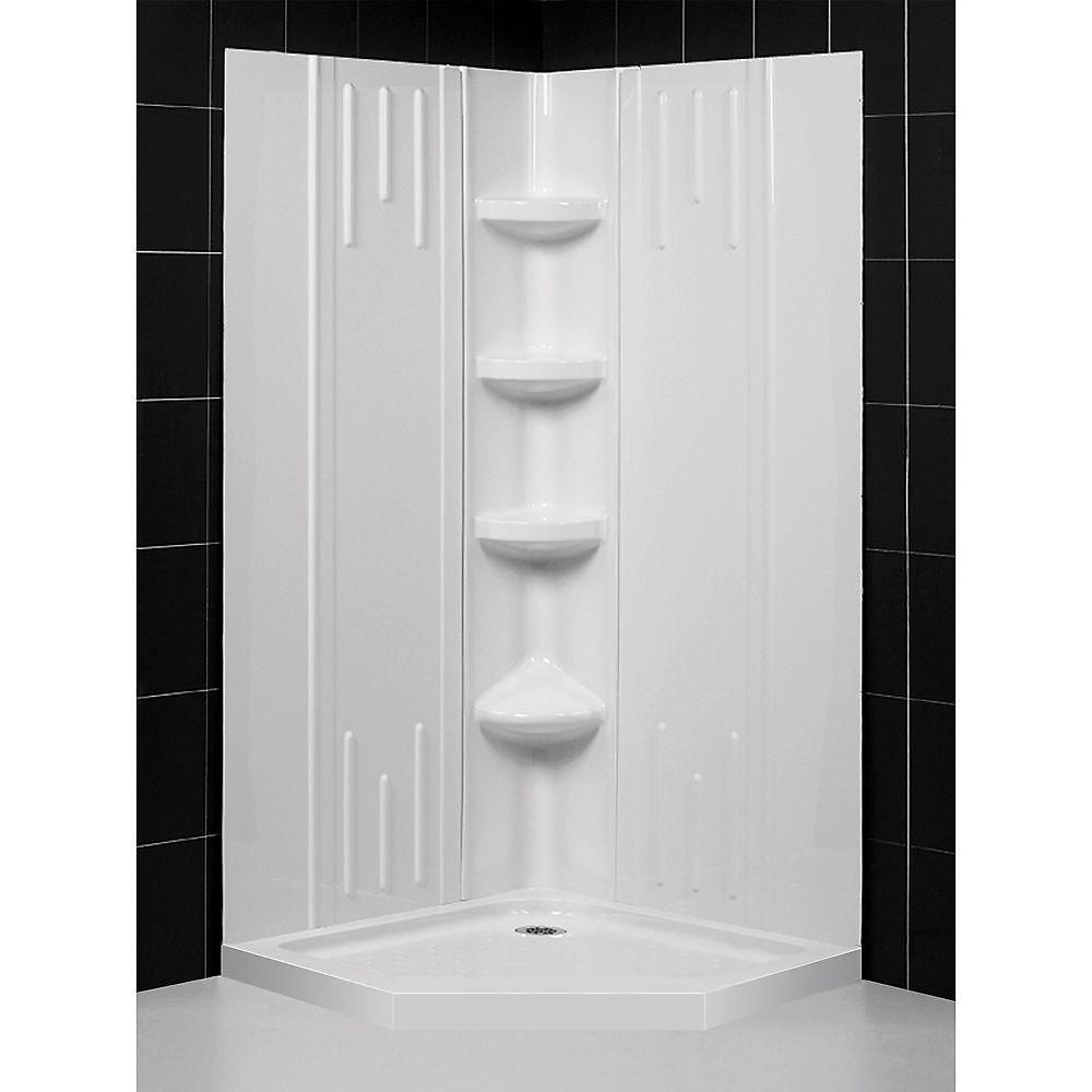 DreamLine SlimLine 96.52 x 96.52 cm Base de douche néo et QWALL-2 Kit de parois arrière de la douche