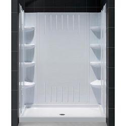 DreamLine SlimLine 30-inch x 60-inch Single Threshold Shower Base in White Center Drain Base with Back Walls