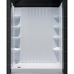 DreamLine SlimLine 34-inch x 60-inch Single Threshold Shower Base in White Left Hand Drain Base with Back Walls