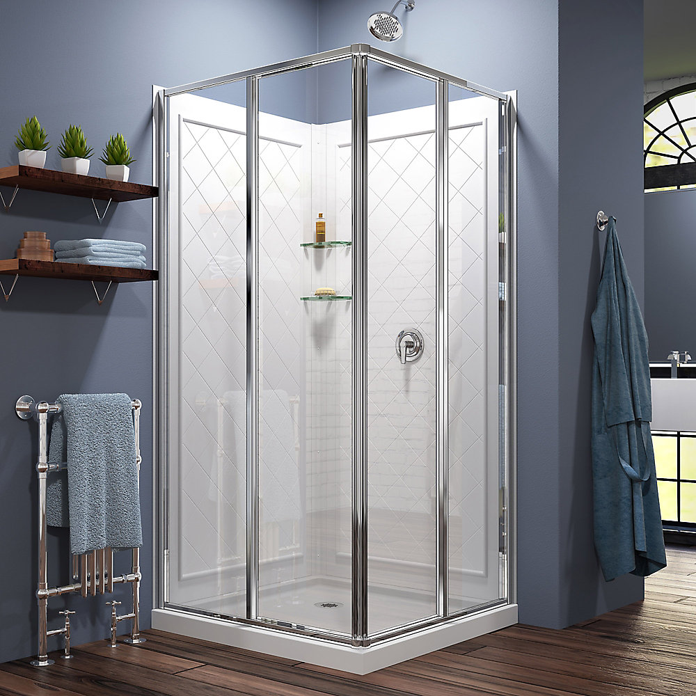 Cornerview 36-inch x 36-inch x 76.75-inch Corner Sliding Shower Enclosure in Chrome with Acrylic Base and Back Walls Kit