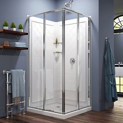 DreamLine Cornerview 36-inch x 36-inch x 76.75-inch Corner Sliding Shower Enclosure in Chrome with Acrylic Base and Back Walls Kit