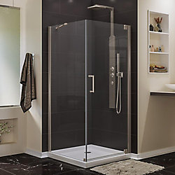 DreamLine Elegance 30-inch W x 30-inch D x 72-inch H Semi-Frameless Pivot Shower Enclosure in Brushed Nickel