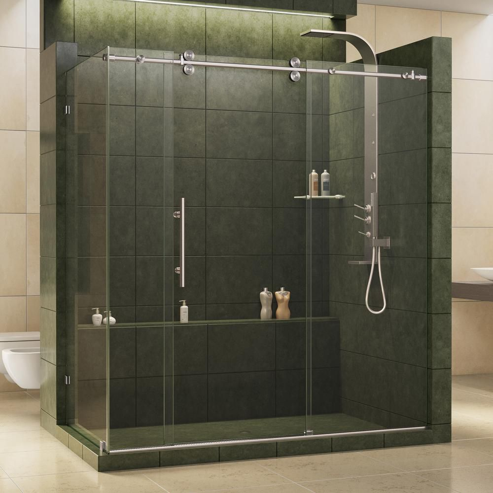 DreamLine Enigma 36-inch x 72-1/2-inch x 79-inch Fully Frameless Sliding Shower Enclosure in Brushed Stainless Steel, 1/2-inch Glass