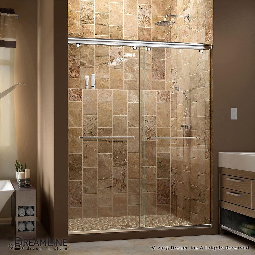DreamLine Charisma 142.24 - 152.4 cm Porte de douche en à coulissante, Le verre de 0.79 cm, chrome