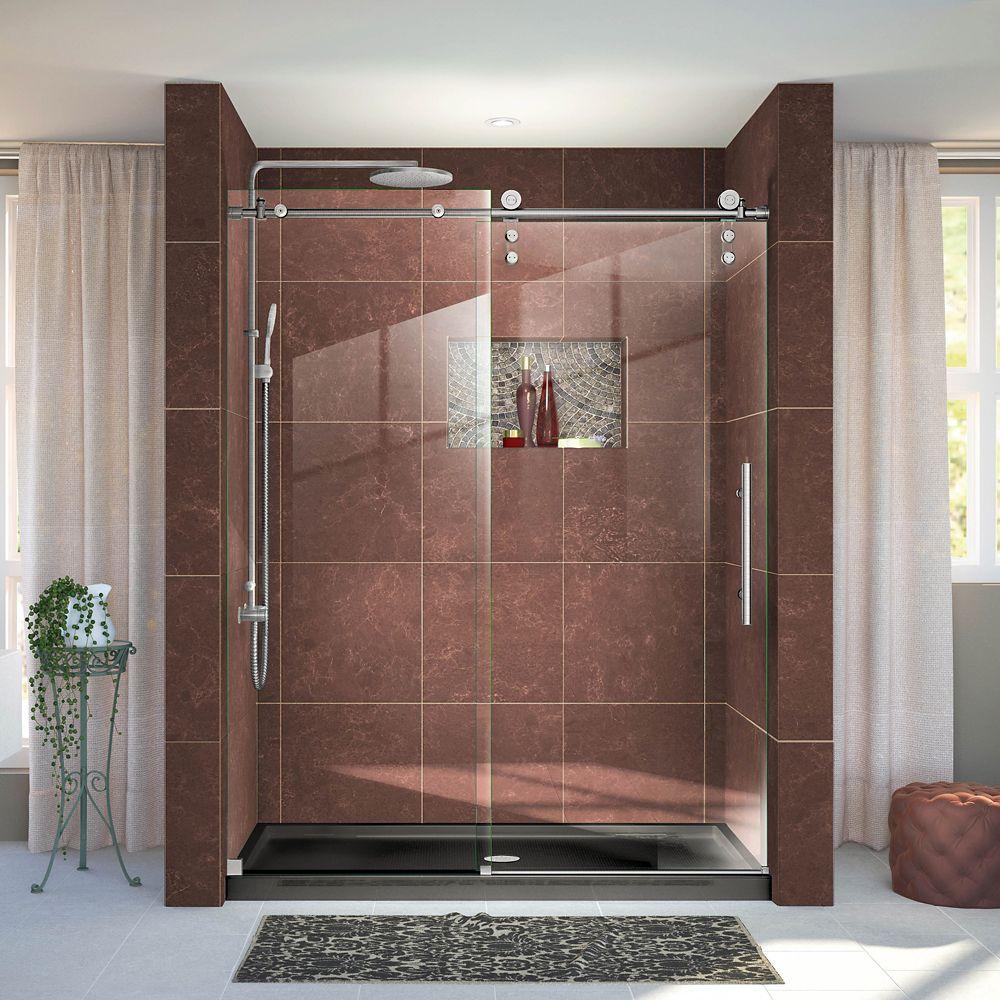 DreamLine Enigma-Z 56-inch to 60-inch x 76-inch Frameless Sliding Shower Door in Brushed Stainless Steel