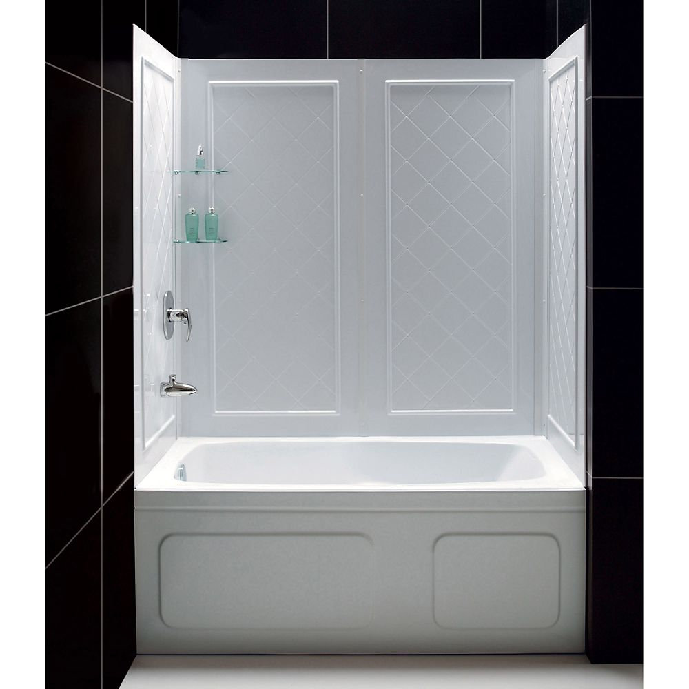DreamLine QWALL-Tub 28-32-inch D x 56 to 60-inch W x 60-inch H 4-Piece Easy Up Adhesive Tub Surround in White