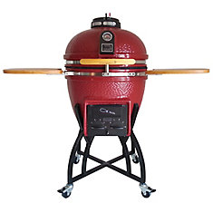 Kamado Professional Ceramic Charcoal BBQ in Chili Red with BBQ Cover