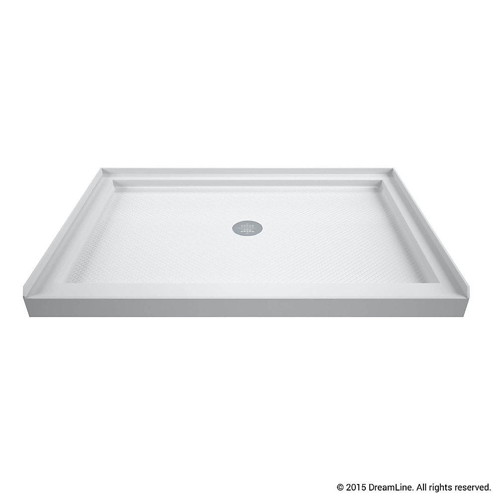 DreamLine SlimLine Base de douche 91 cm x 122 cm, Base avec drain central, Couleur Blanc