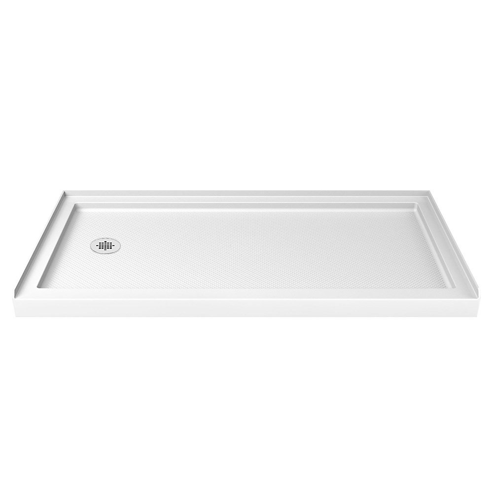 DreamLine SlimLine Base de douche 91 cm x 152 cm, Base avec drain à gauche, Couleur Blanc
