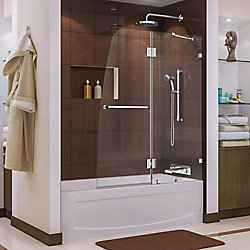 DreamLine Aqua Lux 48-inch x 58-inch Semi-Frameless Pivot Tub/Shower Door in Chrome with Handle
