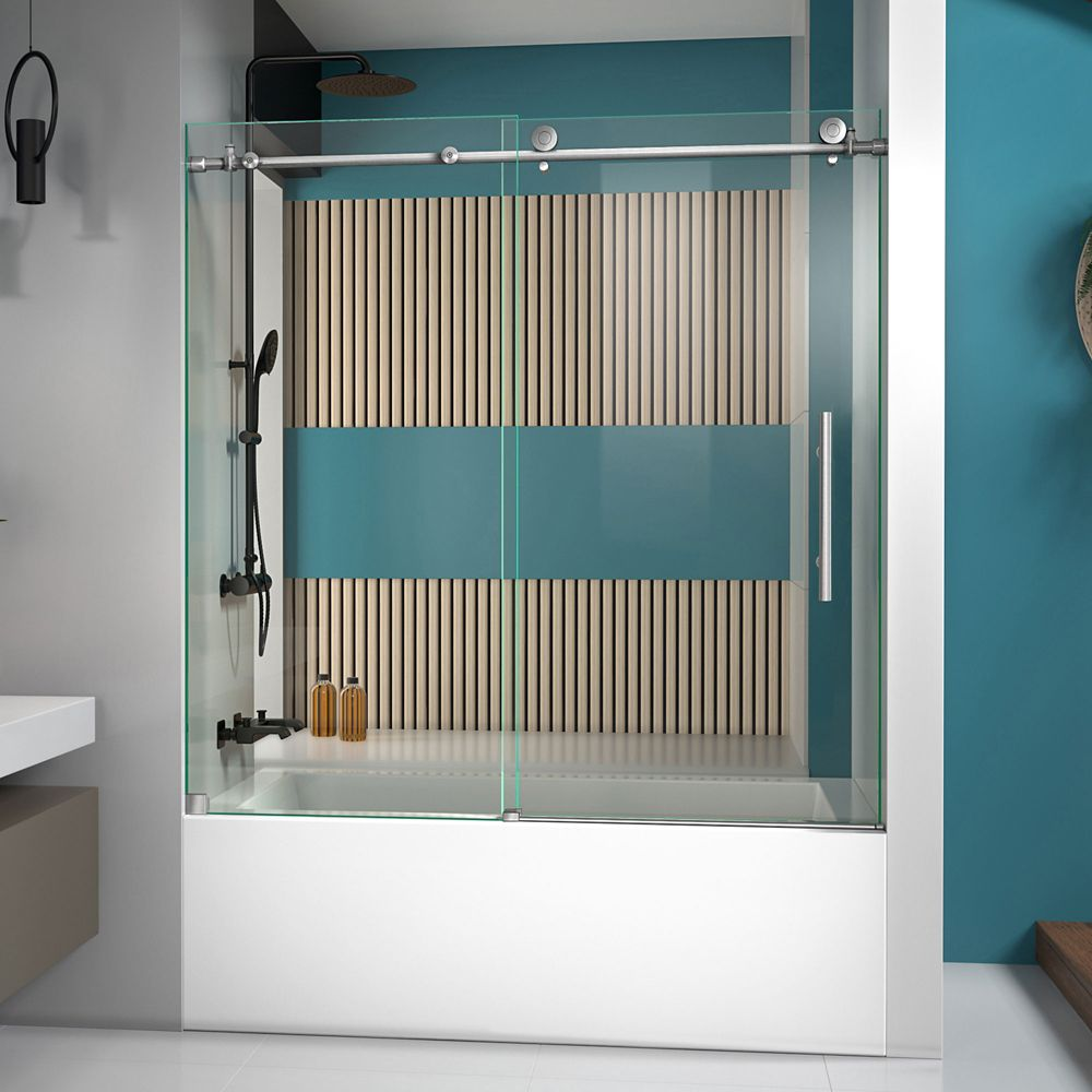 DreamLine Enigma-X 56-inch to 59-inch x 62-inch Frameless Sliding Tub Door in Brushed Stainless Steel with Handle
