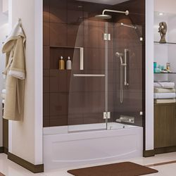 DreamLine Aqua Lux 48-inch x 58-inch Frameless Pivot Tub/Shower Door in Brushed Nickel with Handle