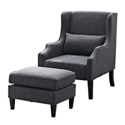 Simpli Home Ashbury Contemporary Wingback Polyester/Polyester Blend Accent Chair in Grey with Solid Pattern