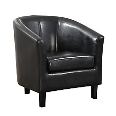 Austin Contemporary Club Faux Leather Accent Chair in Black with Solid Pattern