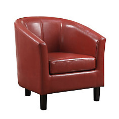 Austin Contemporary Faux Leather Accent Chair in Red with Solid Pattern