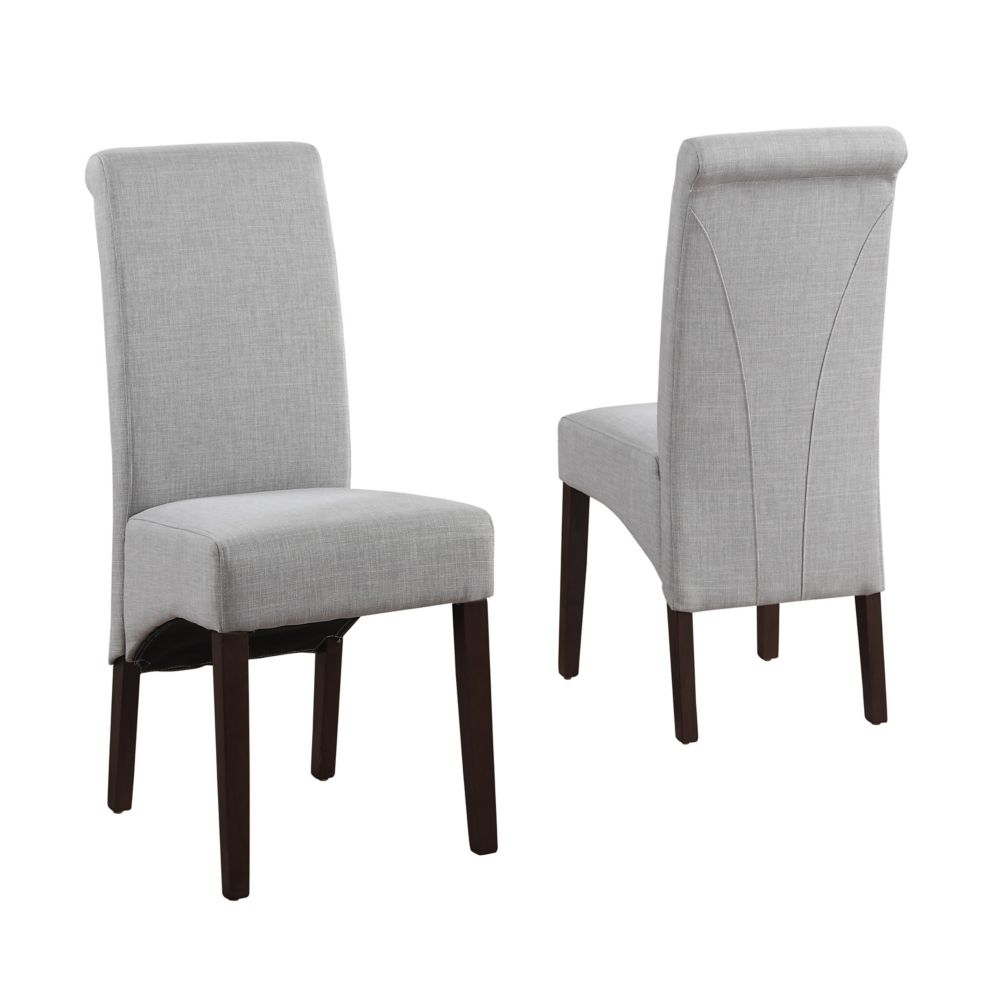 Simpli Home Avalon Solid Wood Brown Parson Armless Dining Chair with Grey Polyester Seat - Set of 2