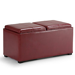 Simpli Home Avalon 35.5-inch x 16.5-inch x 17.70-inch Faux Leather Ottoman in Red
