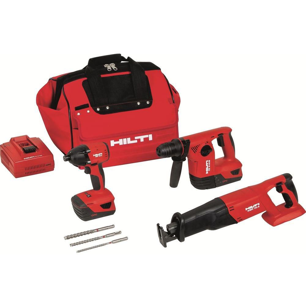 18-Volt Lithium-Ion Cordless Rotary Hammer Drill/Reciprocating Saw/Impact Driver Combo Kit (3-Too...
