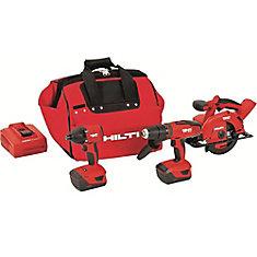 18-Volt Lithium-Ion Cordless Hammer Drill Driver/Impact Driver/Circular Saw Combo Kit (3-Tool)
