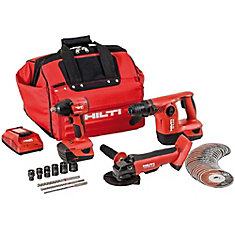 18-Volt Lithium-Ion Cordless Cut-Off Tool/Impact Wrench/Rotary Hammer Drill Combo Kit (3-Tool)