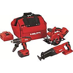18-Volt Lithium-Ion Cordless Hammer Drill Driver/Reciprocating Saw/Circular Saw Combo Kit (3-Tool)