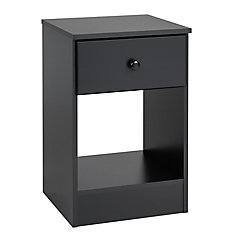 Astrid 16-inch x 24.5-inch x 16-inch 1-Drawer Nightstand in Black