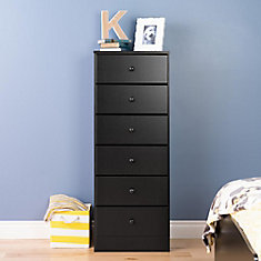 Astrid 20-inch x 52-inch x 16.5-inch 6-Drawer Chest in Black