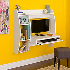 Bureau d'ordinateur standard, 41po x 39,5po x 19po, blanc