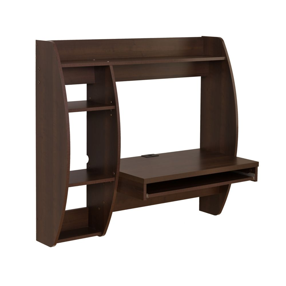 Espresso Floating Desk with Storage and Keyboard Tray