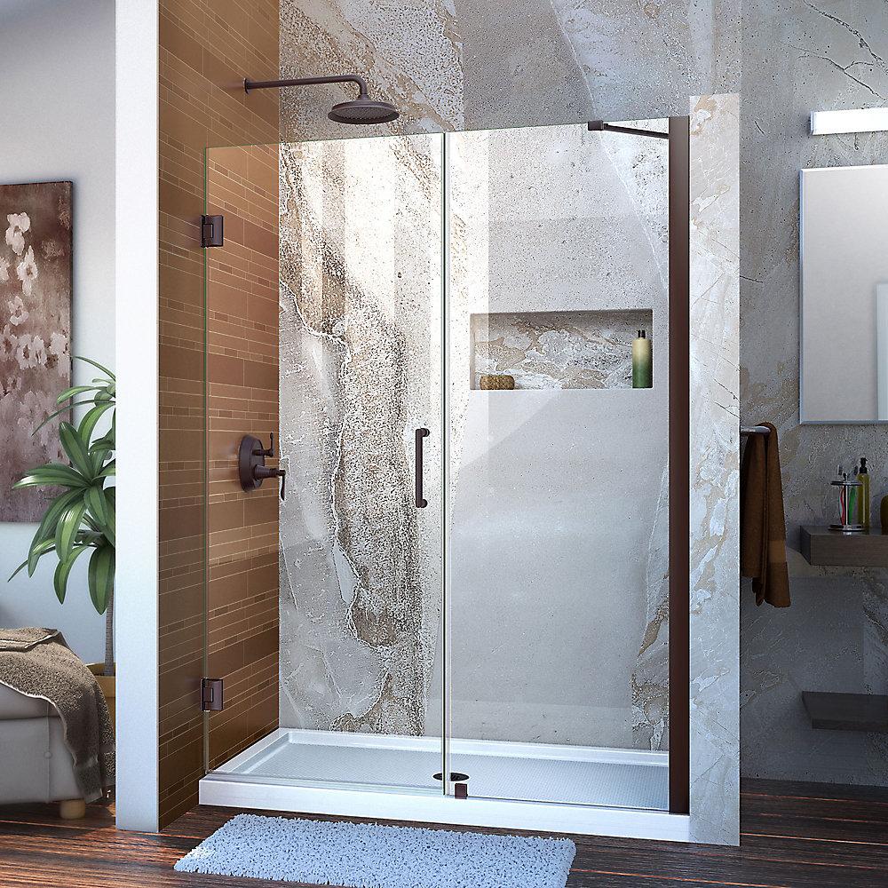 Unidoor 47 to 48-inch x 72-inch Frameless Hinged Pivot Shower Door in Oil Rubbed Bronze with Handle