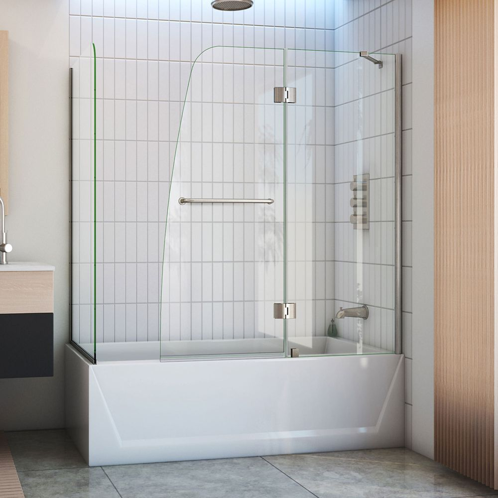 MAAX Axial Duo 42 inch x 58 inch Frameless Fixed Tub Door in Chrome ...