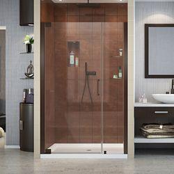 DreamLine Elegance 46-inch to 48-inch x 72-inch Semi-Frameless Pivot Shower Door in Oil Rubbed Bronze
