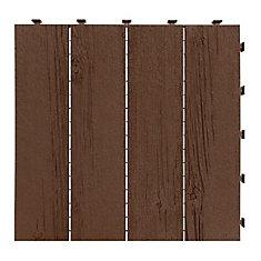 12 inch x 12 inch Barnboard Deck Tile Earth 6pk