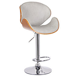 !nspire Tango II Metal Chrome Parson Armless Bar Stool with Grey Faux Leather Seat