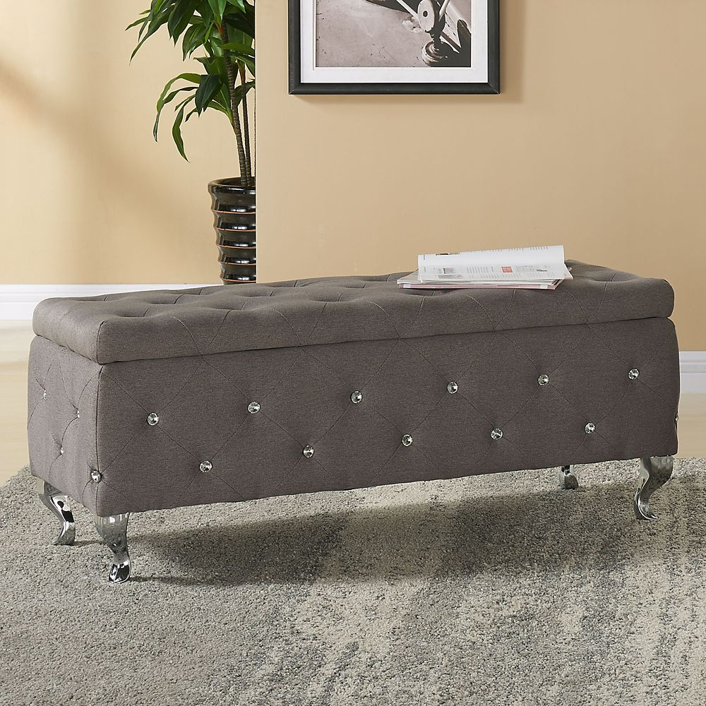 Monique-Storage Ottoman-Grey