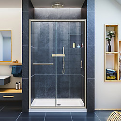 DreamLine Infinity-Z 36-inch x 48-inch x 74.75-inch Framed Sliding Shower Door in Brushed Nickel with Center Drain White Acrylic Base