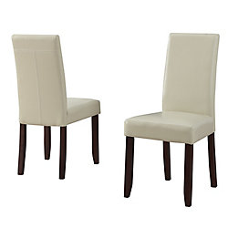 Simpli Home Chaise Parson sans accoudoirs Acadian, bois massif marron, siège similicuir beige, ens. de 2
