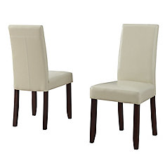 Acadian Solid Wood Brown Parson Armless Dining Chair with Beige Faux Leather Seat - Set of 2
