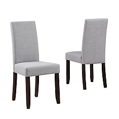 Acadian Solid Wood Brown Parson Armless Dining Chair with Grey Polyester Seat - Set of 2