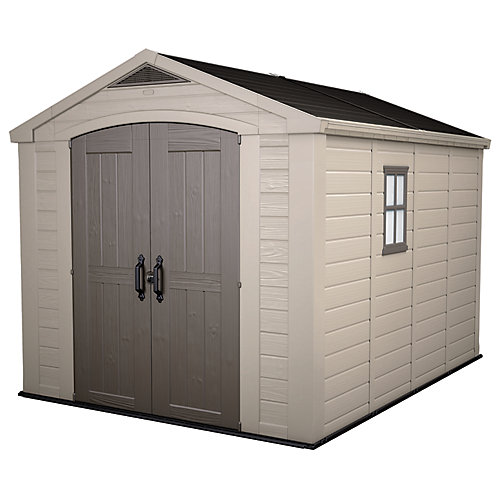 Garden Sheds At Home Depot keter 8 ft. x 11 ft. factor storage shed in taupe and brown | the