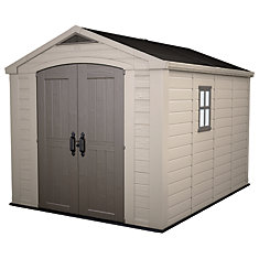 factor storage shed in taupe and brown