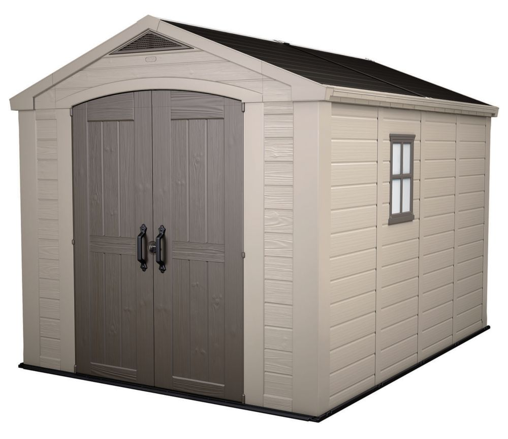 Storage Shed In Taupe And Brown