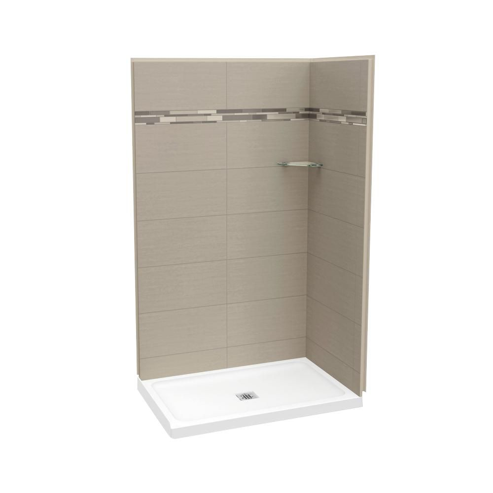 MAAX Utile 32-Inch x 48-Inch Corner Shower Stall in Metro Ash Grey ...
