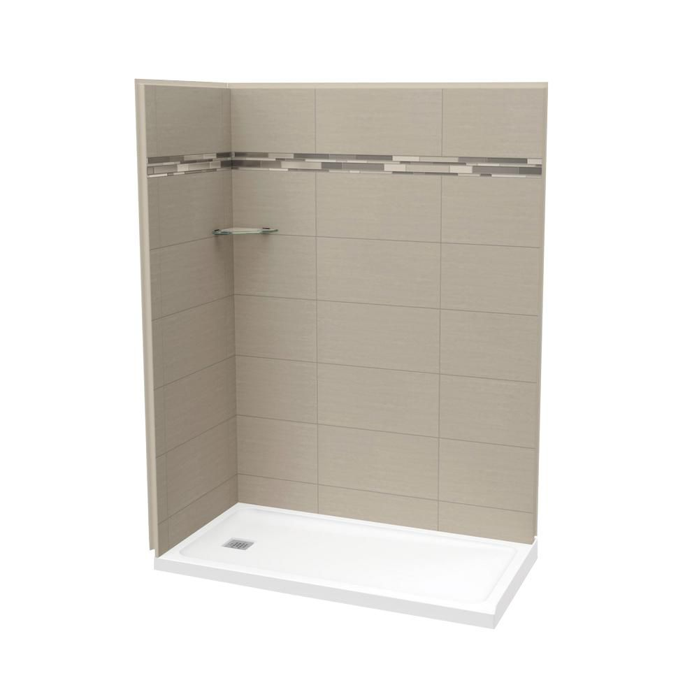 MAAX Utile 60 Inch Origin Greige Left Hand Corner Shower Kit