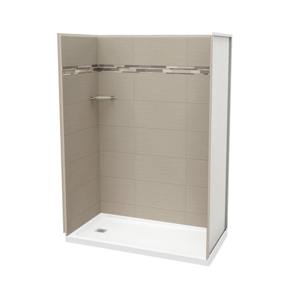 MAAX Utile 60 Inch Origin Greige Left Hand Alcove Shower Kit