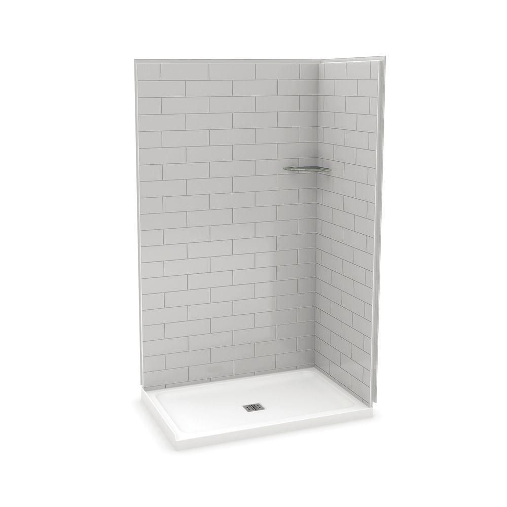 MAAX Utile 48 Inch Metro Soft Grey Corner Shower Kit