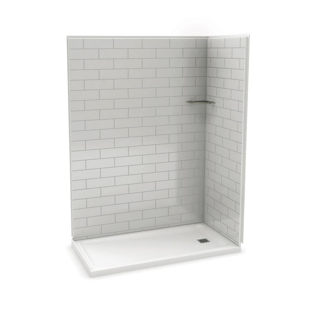 Utile 60 Inch Metro Soft Grey Right Hand Corner Shower Kit