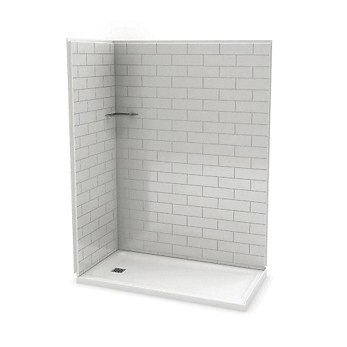 Utile 60 Inch Metro Soft Grey Left Hand Corner Shower Kit